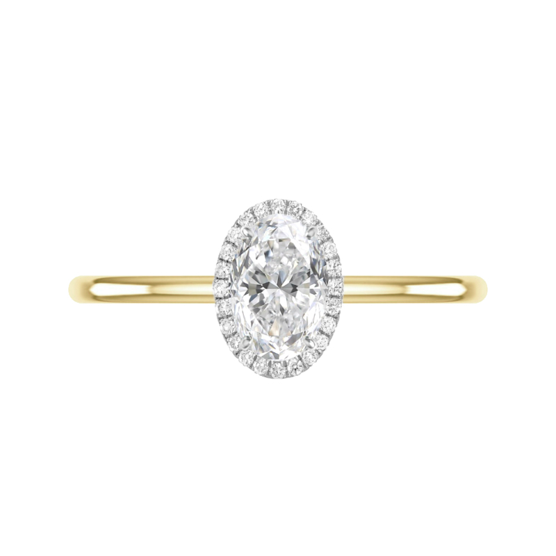 1.20 Carat Oval Diamond & Double Edge Halo Solitaire Ring