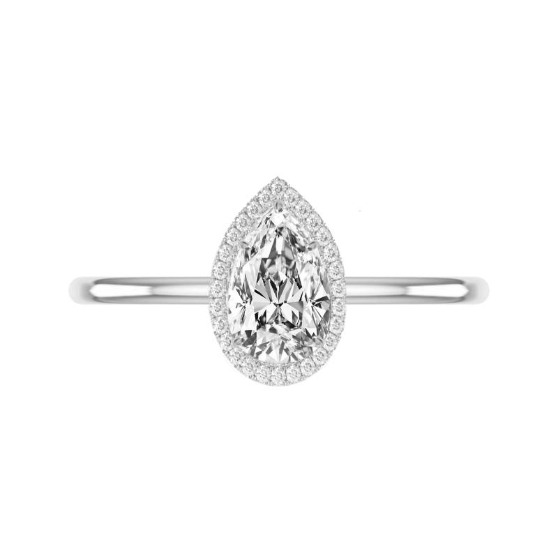 1.20 Carat Pear Diamond & Double Edge Halo Solitaire Ring
