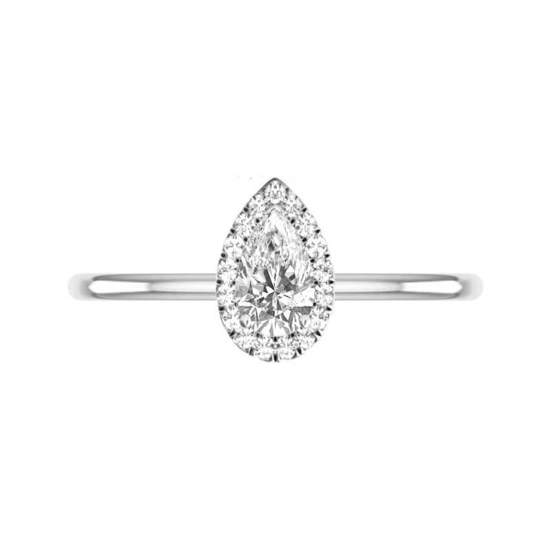 1.20 Carat Pear Diamond & Halo Solitaire Ring