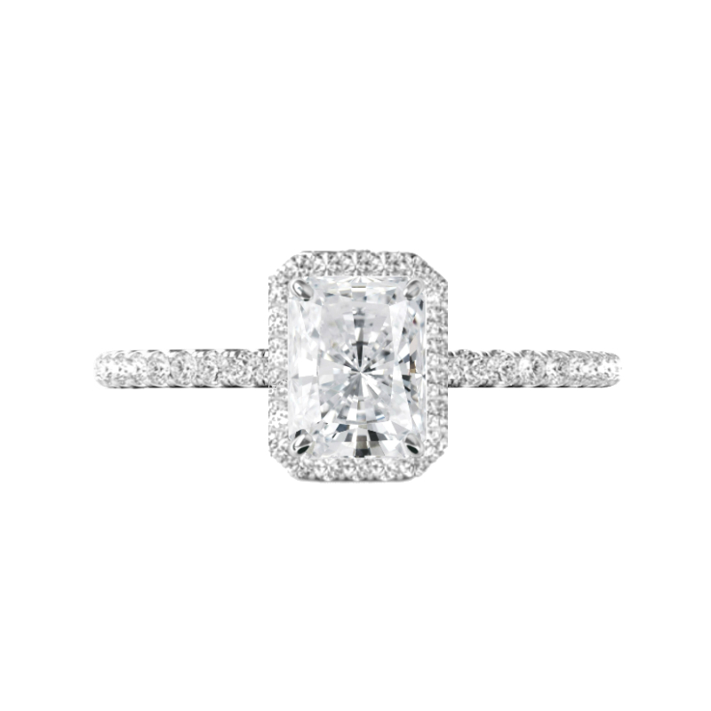 1.20 Carat Radiant Diamond & Halo Engagement Ring