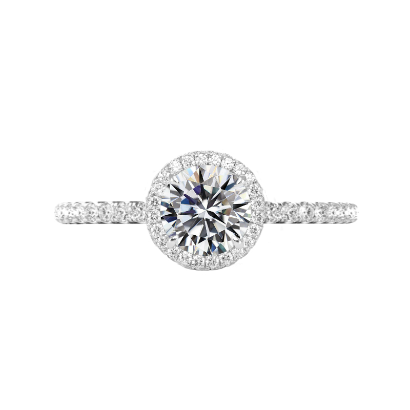 1.20 Carat Round Lab Grown Diamond & Double Edge Halo Ring
