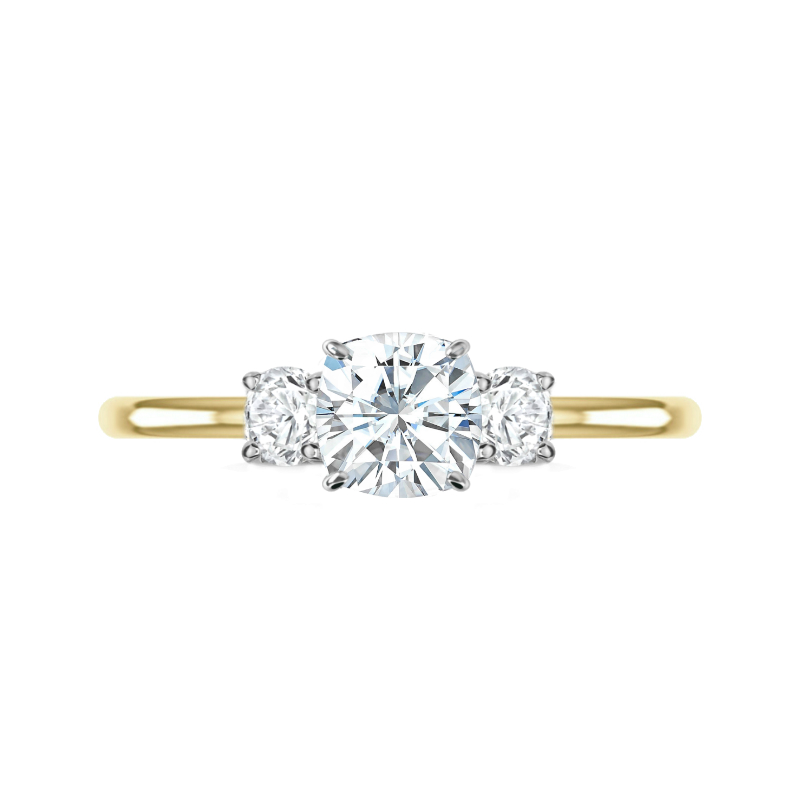 1.30 Carat Cushion Diamond & Round Diamond Three Stone Ring
