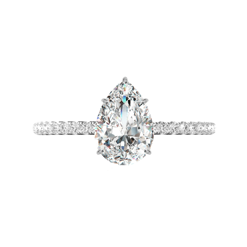 1.30 Carat Pear Lab Grown Diamond & Hidden Halo Ring