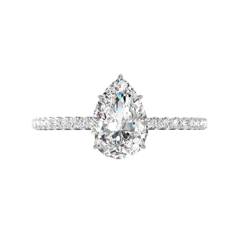 1.30 Carat Pear Lab Grown Diamond & Hidden Halo Ring