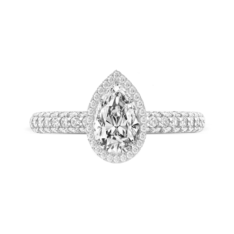 1.30 Carat Pear Diamond & Double Edge Halo Three Row Pave Ring