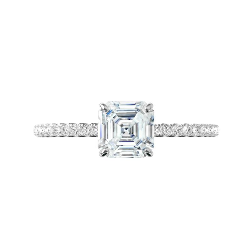 1.30 Carat Asscher Diamond Pave Engagement Ring