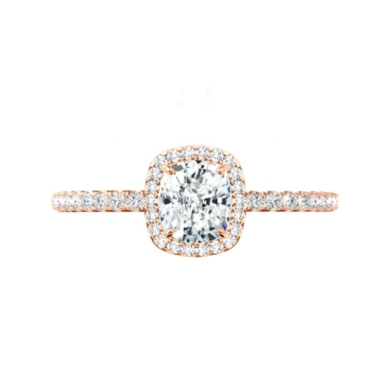 1.40 Carat Cushion Diamond & Halo U Gallery Ring