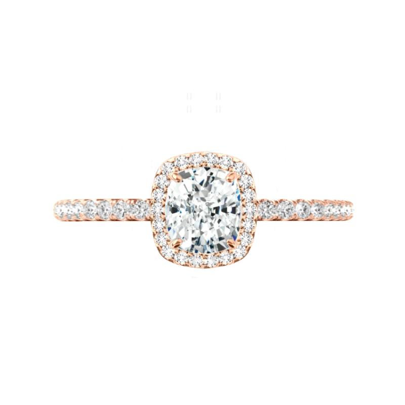 1.40 Carat Cushion Diamond & Halo U Gallery Ring