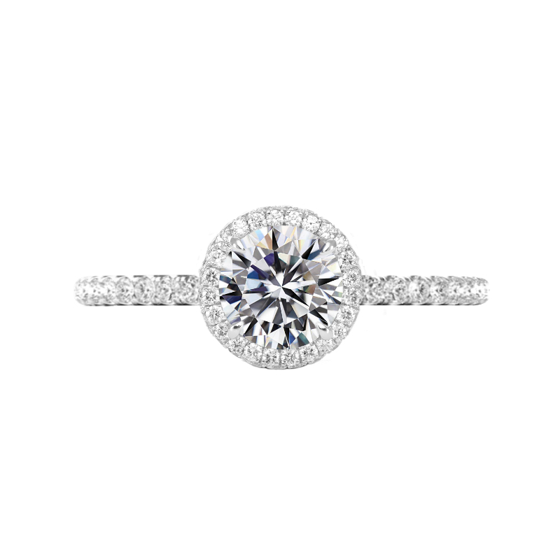 1.40 Carat Round Diamond & Double Edge Halo Ring
