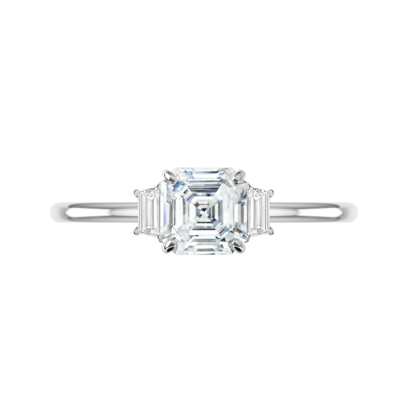 1.50 Carat Asscher Moissanite & Trapezoid Diamond Three Stone Ring