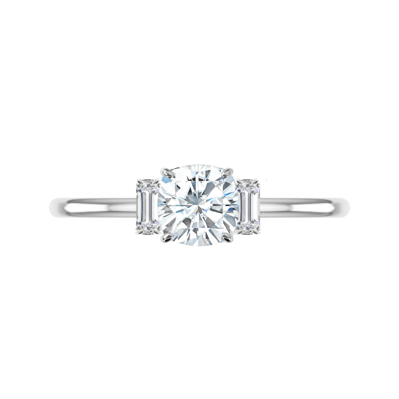 1.40 Carat Cushion Moissanite & Diamond Baguette Solitaire