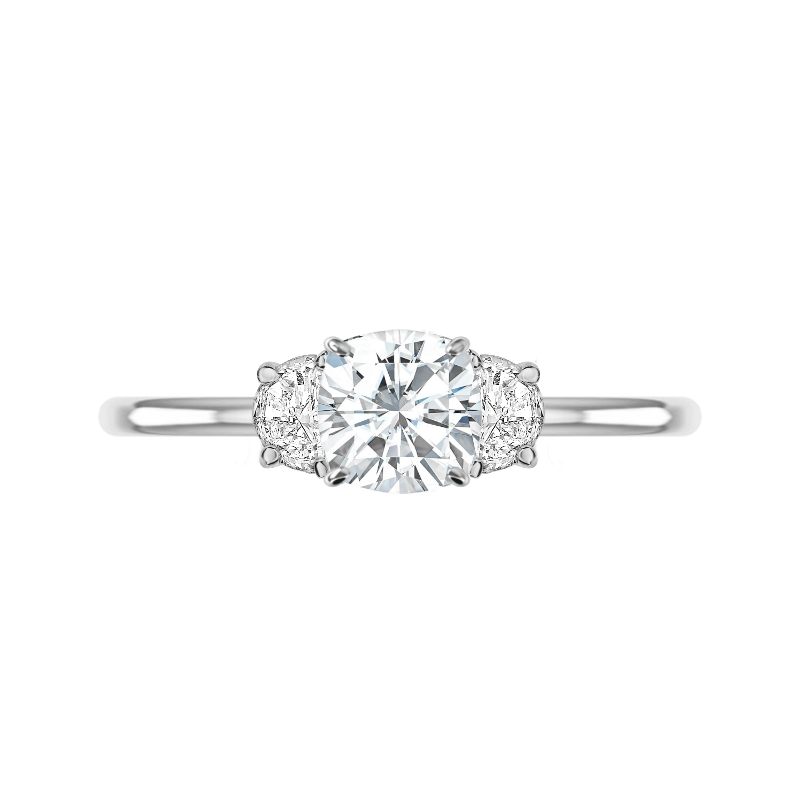 1.80 Carat Cushion Diamond & Half Moon Three Stone Ring
