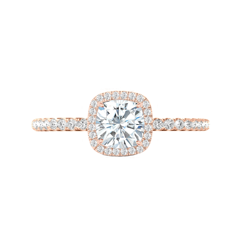 1.50 Carat Cushion Moissanite & Diamond Halo U Gallery Ring