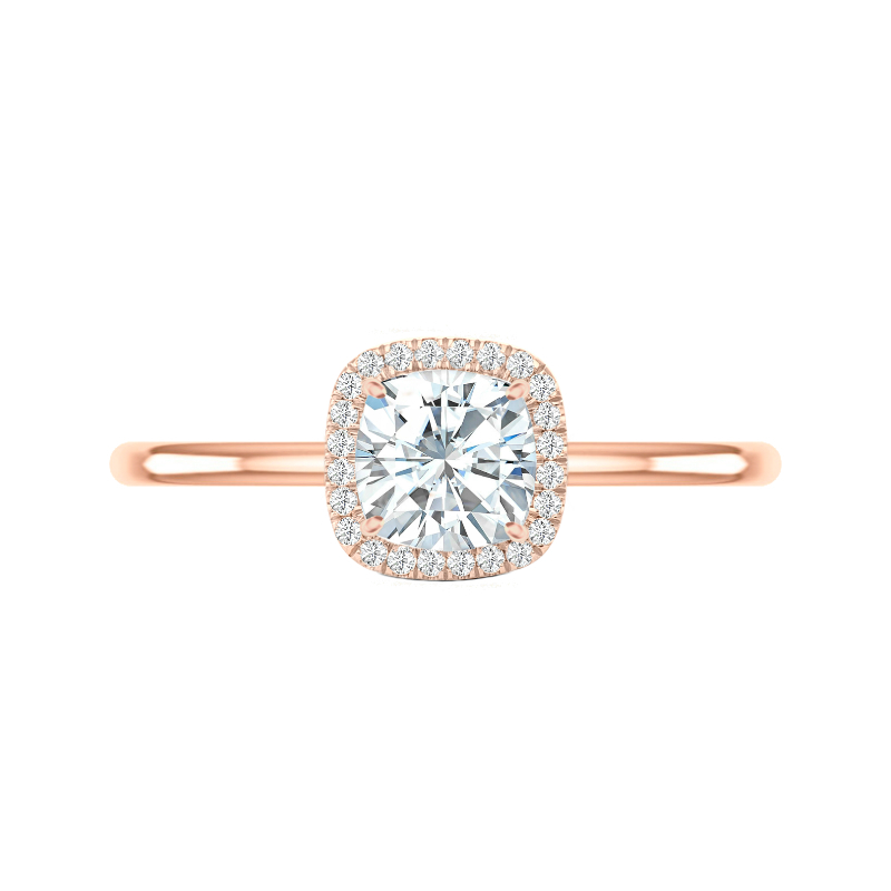 1.40 Carat Cushion Moissanite & Diamond Halo Solitaire Ring