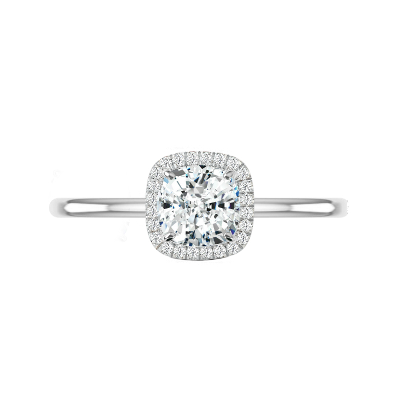 1.50 Carat Cushion Diamond & Double Edge Halo Solitaire Ring