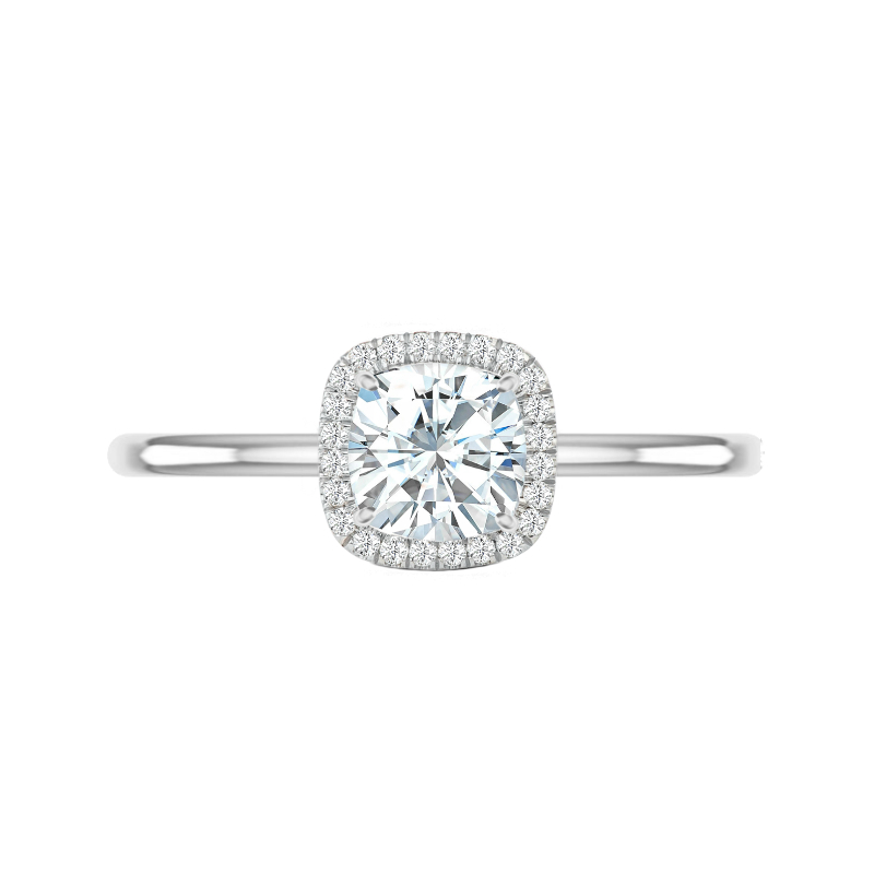 1.50 Carat Cushion Moissanite & Diamond Double Edge Halo Solitaire
