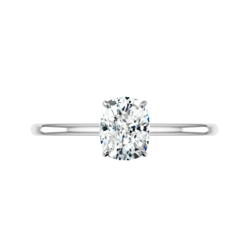 1.50 Carat Elongated Cushion Diamond & Hidden Halo Solitaire