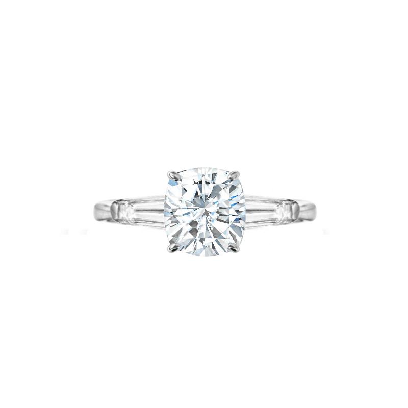 1.50 Carat Elongated Cushion Moissanite & Diamond Baguette Ring