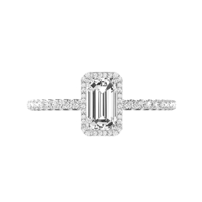 1.50 Carat Elongated Emerald Diamond & Double Edge Halo Ring