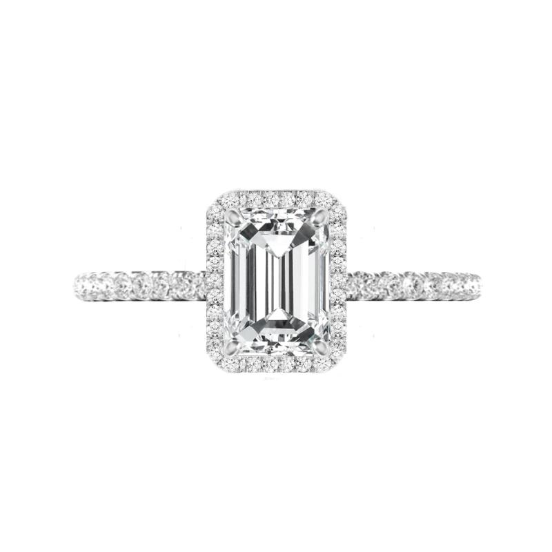 1.75 Carat Emerald Moissanite & Diamond Halo U Gallery Ring