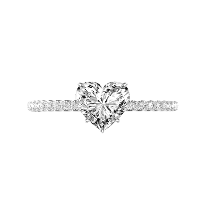 1.50 Carat Heart Diamond Pave Engagement Ring