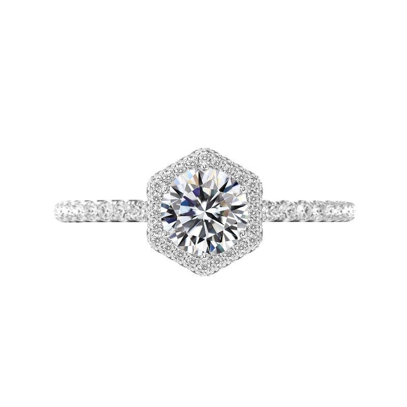 1.50 Carat Round Lab Grown Diamond & Hexagon Double Edge Halo Ring