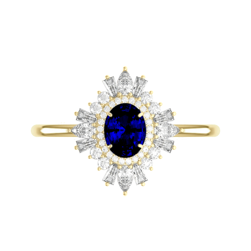 1.50 Carat Oval Blue Sapphire & Diamond Art Deco Halo Ring