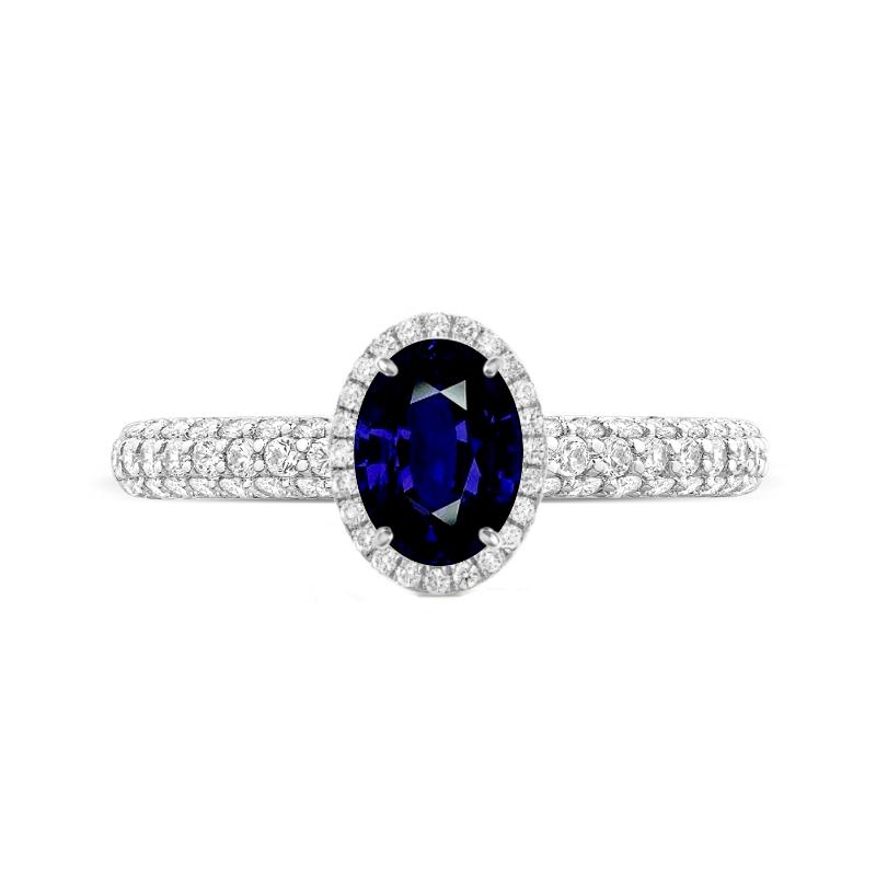 1.50 Carat Oval Blue Sapphire & Diamond Double Edge Halo Three Row Ring