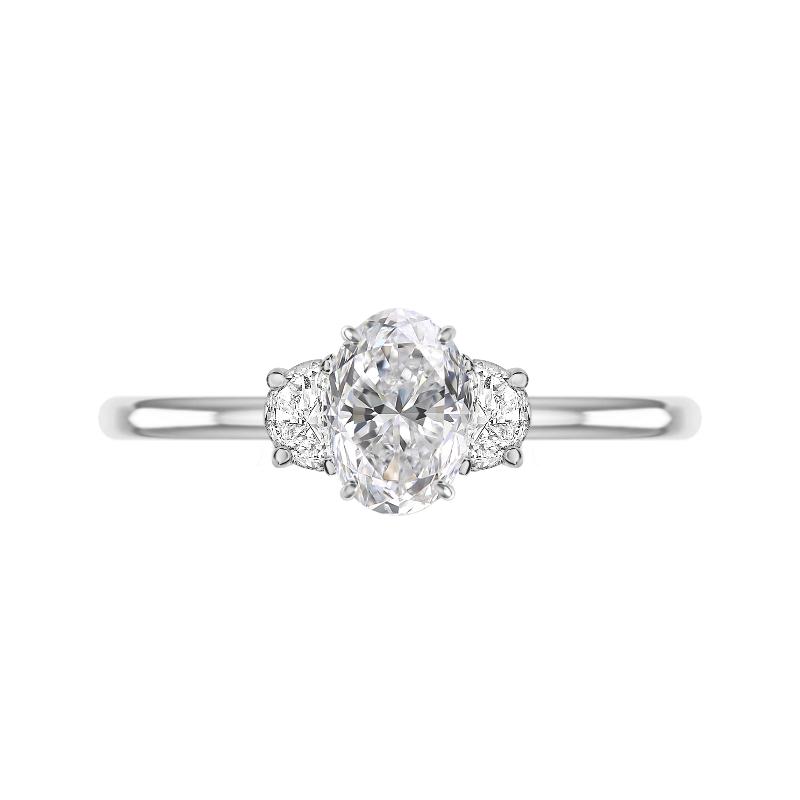 1.50 Carat Oval Diamond & Half Moon Three Stone Ring