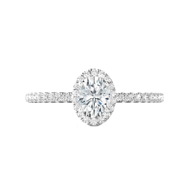 1.50 Carat Oval Diamond & Pave Profile Ring