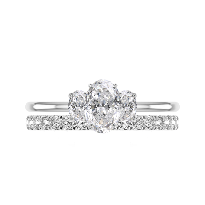1.50 Carat Oval Diamond Three Stone Solitaire & 2.5mm Diamond Eternity Band