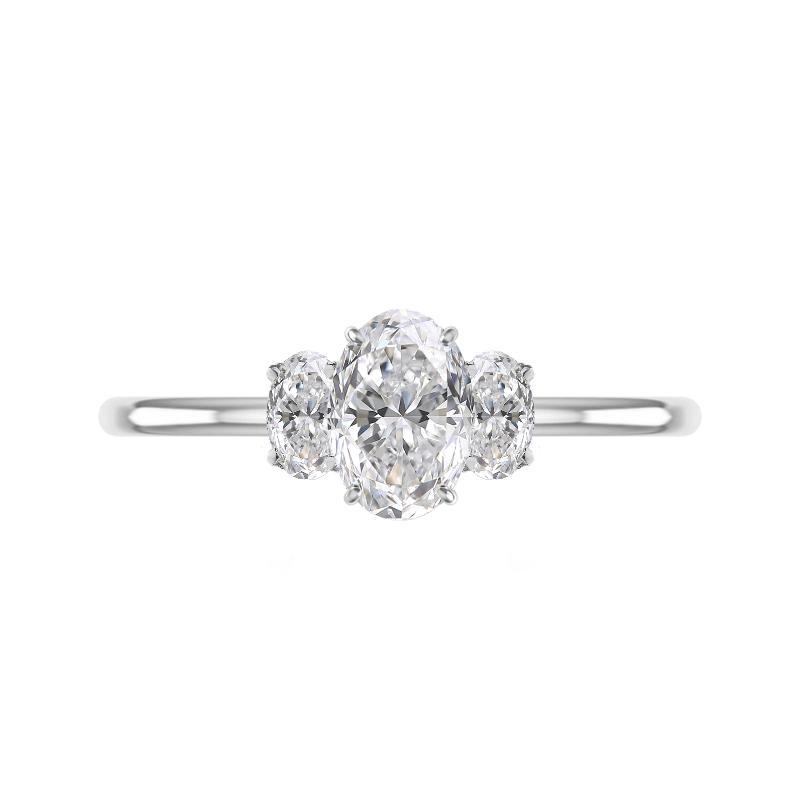 1.50 Carat Oval Lab Grown Diamond Three Stone Ring