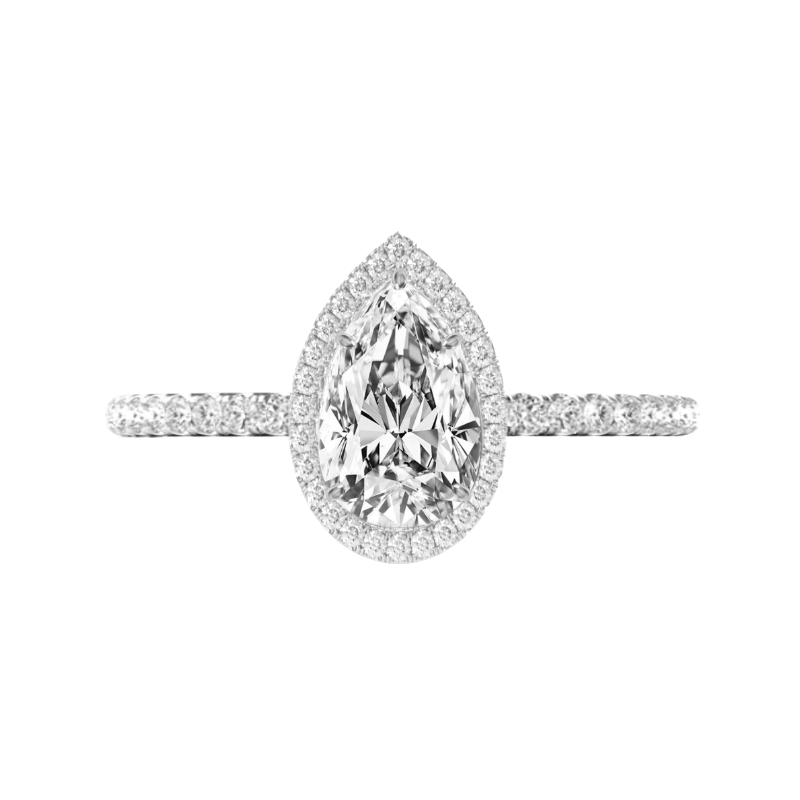 1.50 Carat Pear Diamond & Double Edge Halo Ring