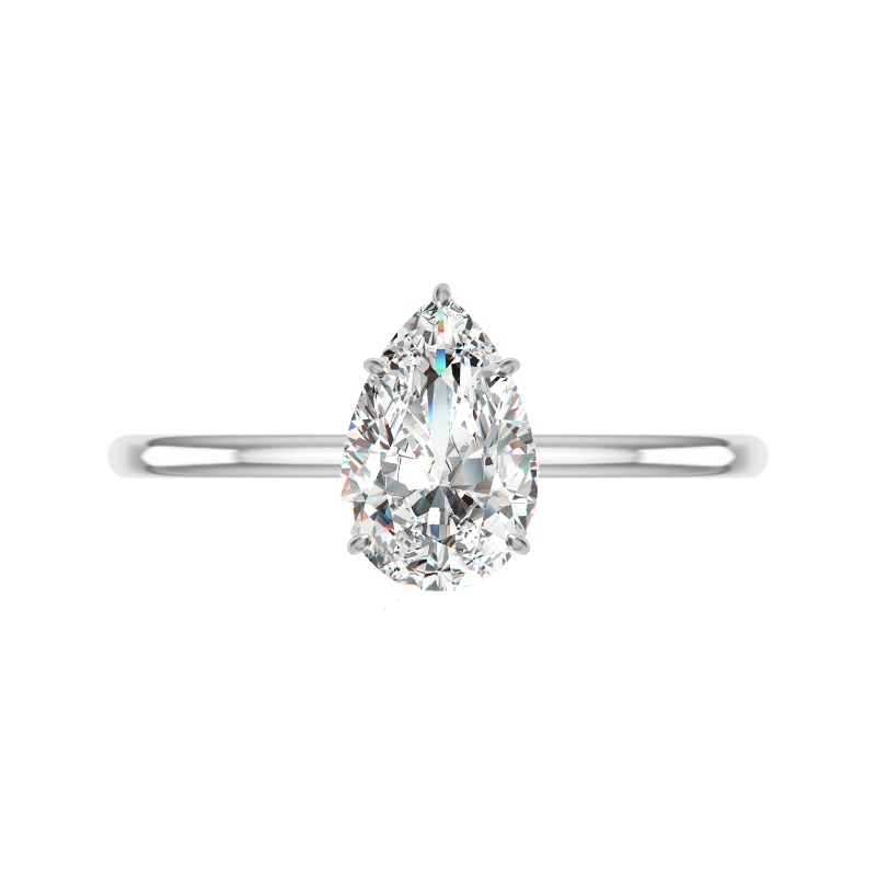 1.50 Carat Pear Diamond & Pave Prongs Solitaire Ring