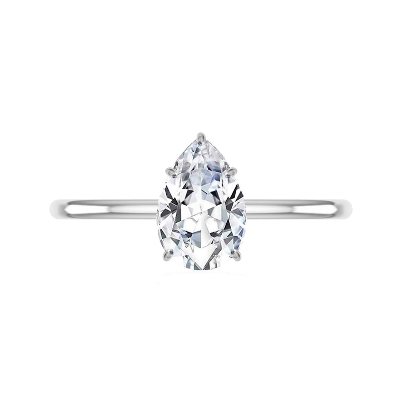 1.50 Carat Pear Moissanite & Diamond Prongs Solitaire Ring