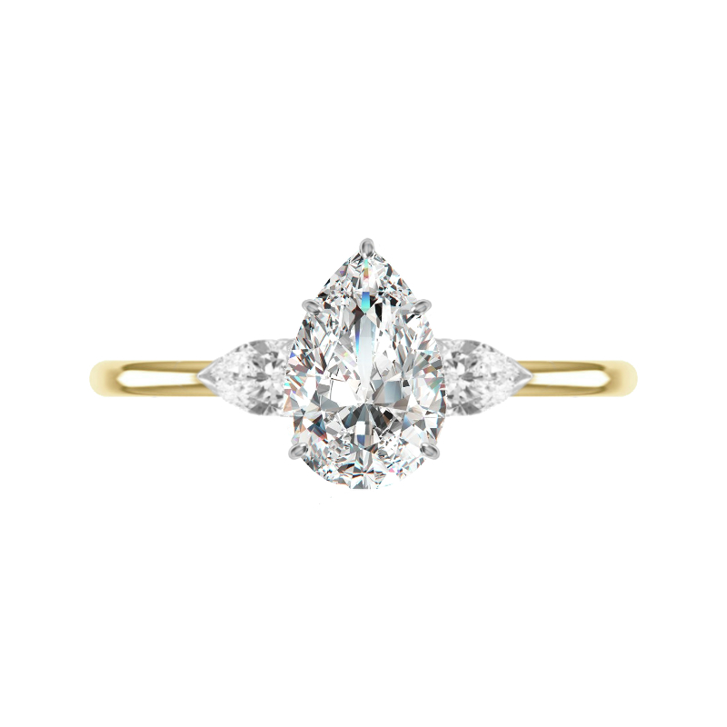 1.50 Carat Pear Diamond Three Stone Ring