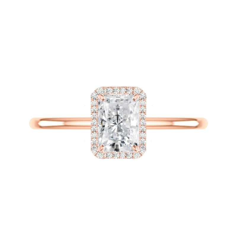 1.50 Carat Radiant Diamond & Halo Solitaire Ring