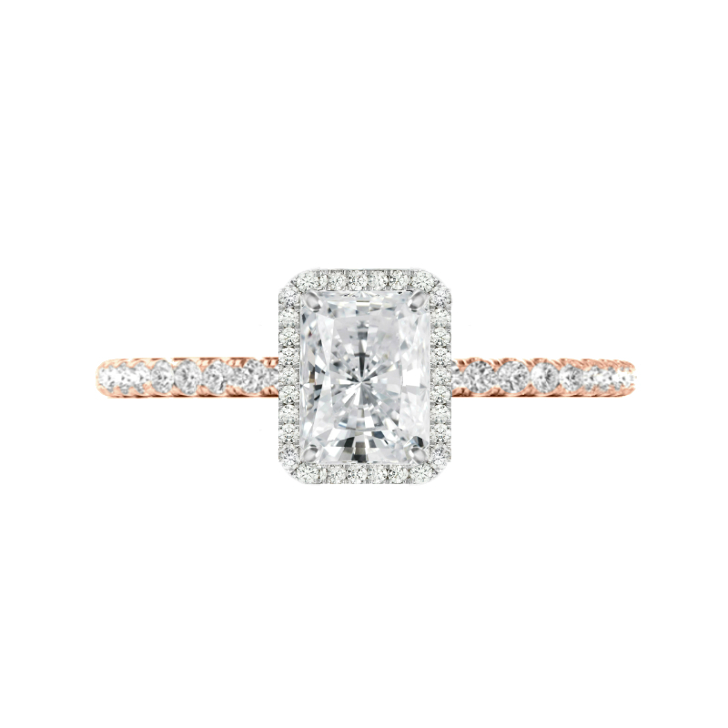 1.50 Carat Radiant Moissanite & Diamond Halo Two Tone Ring