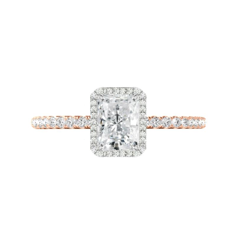 1.50 Carat Radiant Moissanite & Diamond Halo Two Tone Ring