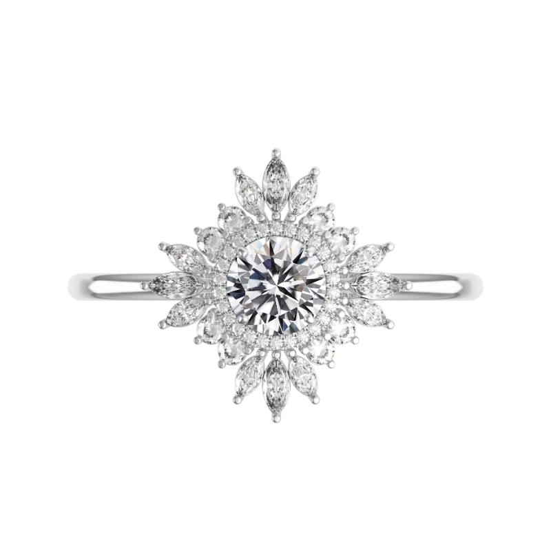1.40 Carat Round Diamond & Art Deco Halo Ring