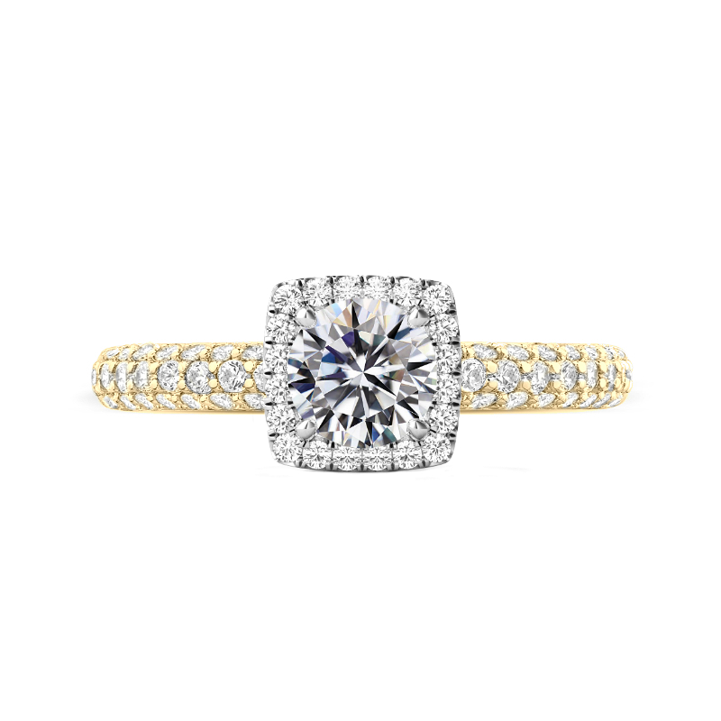 1.50 Carat Round Moissanite & Diamond Cushion Halo Three Row Pave Ring