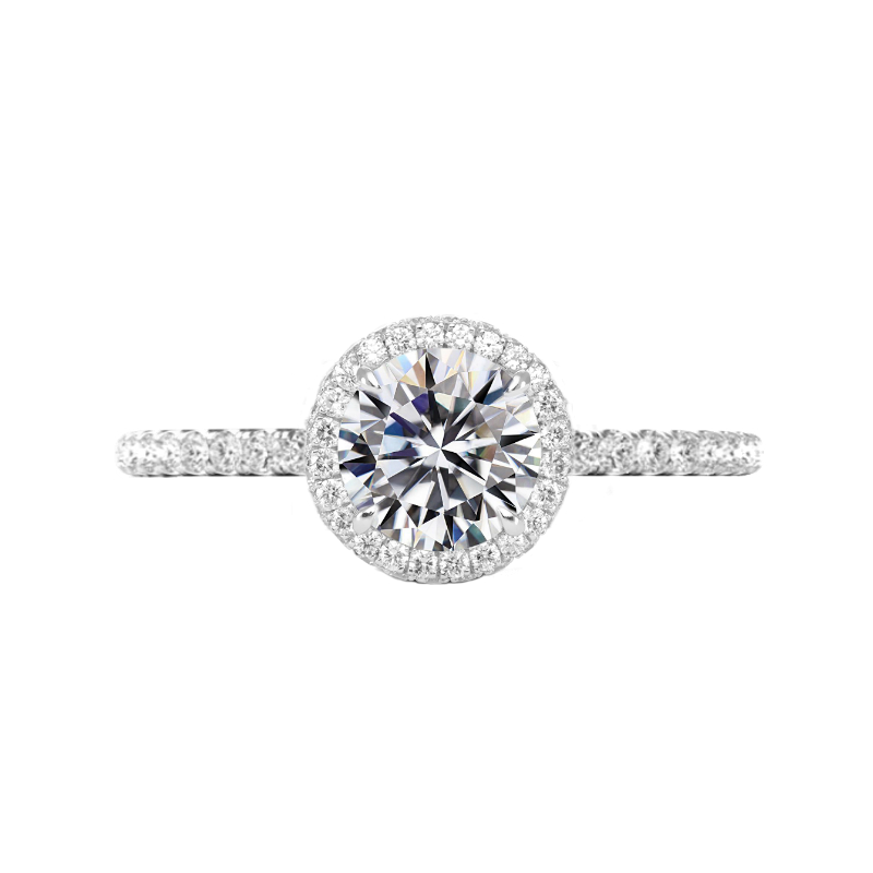 1.50 Carat Round Moissanite & Diamond Double Edge Halo Ring