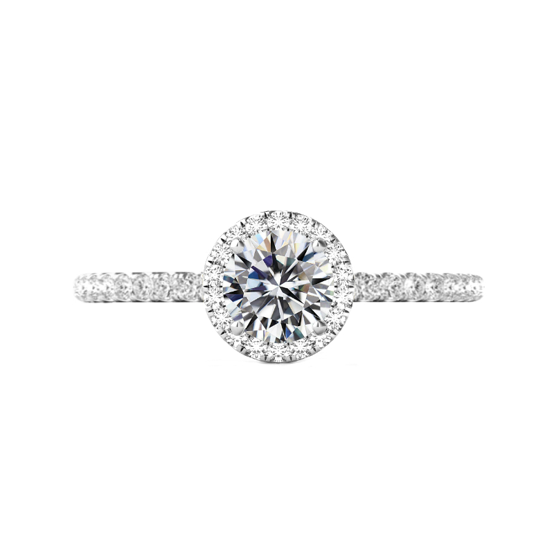 1.50 Carat Round Moissanite & Diamond Halo U Gallery Ring