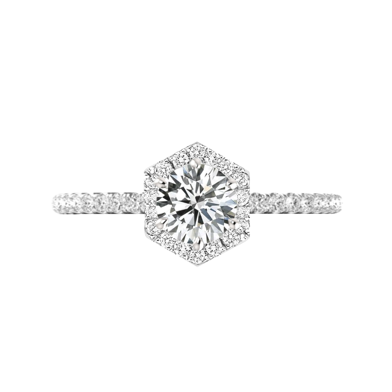 1.50 Carat Round Diamond & Hexagon Halo Ring