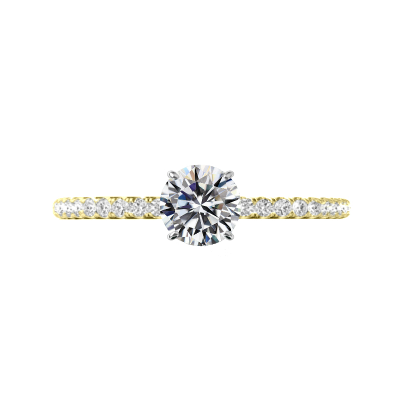 1.50 Carat Round Moissanite & Diamond Hidden Halo Ring
