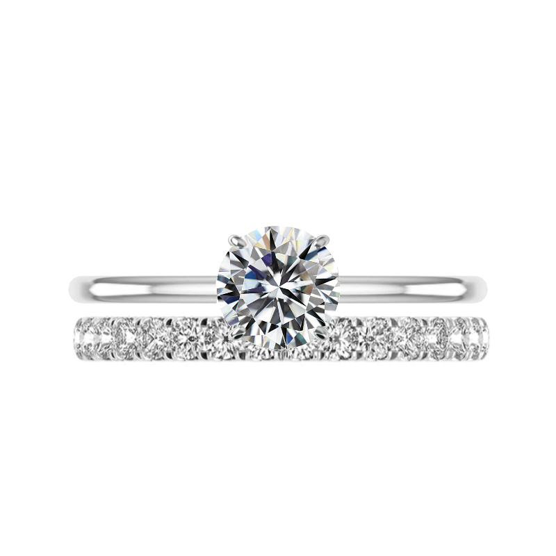 1.50 Carat Round Moissanite Solitaire & 2.5mm Diamond Eternity Band