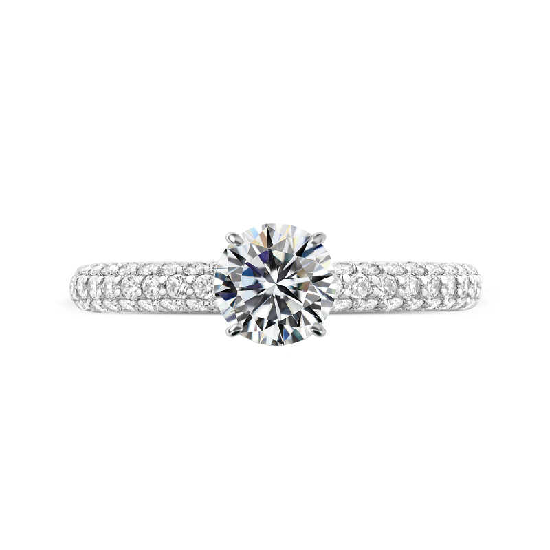1.50 Carat Round Lab Grown Diamond & Three Row Pave with Diamond Prongs