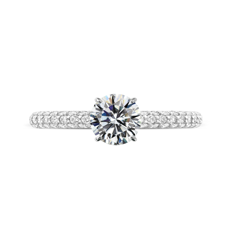 1.50 Carat Round Diamond & Hidden Halo Micropave Ring