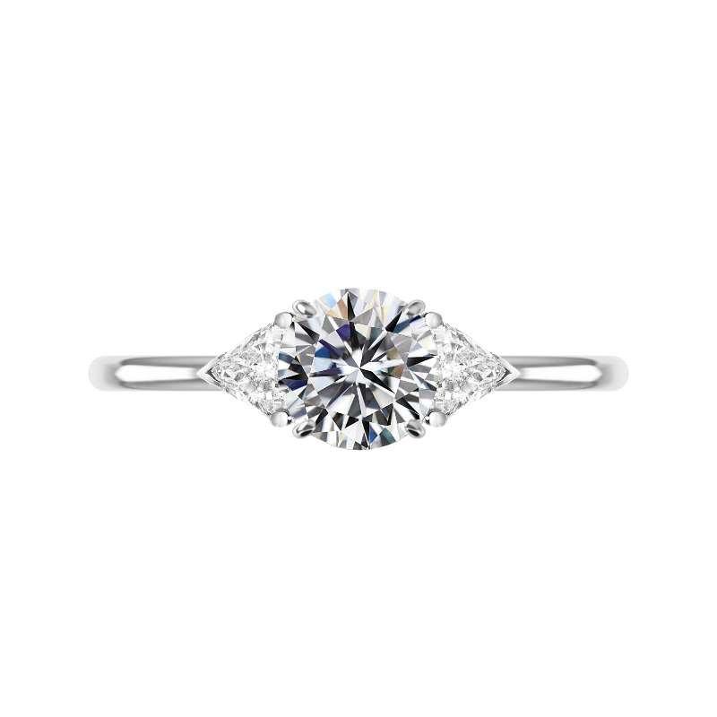 1.50 Carat Round Moissanite & Trillion Diamond Ring
