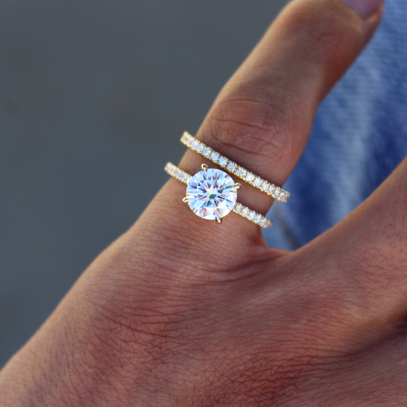 1.50 Carat Round Moissanite & Diamond Hidden Halo Ring